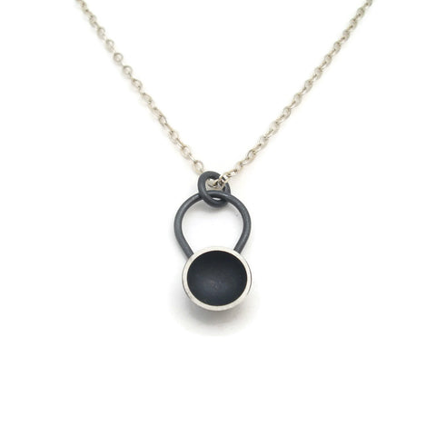 Small Black Moon Circle Sterling Silver Pendant