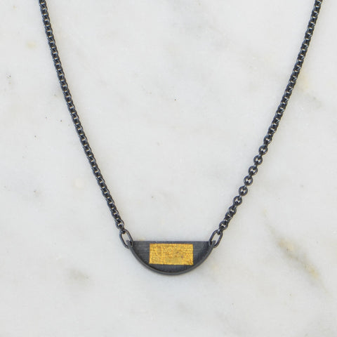 Small Slice Necklace With Gold Rectangle