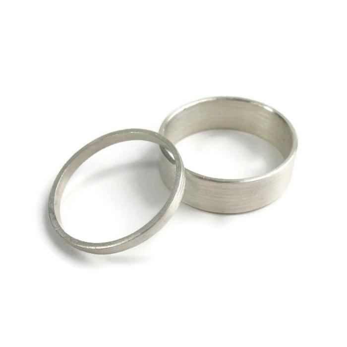Thick and Thin Sterling Silver Wedding Set of 2 Bands - 2mm & 6 mm - Amalia Moon Jewelry