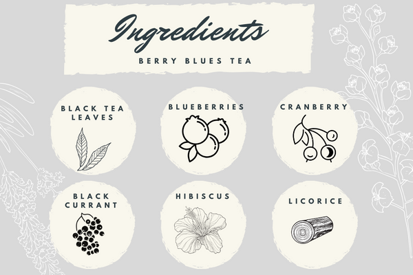 Berry Blues Black Tea - Exotic Wellness Health Tea Coffee -BREWS & BLENDS