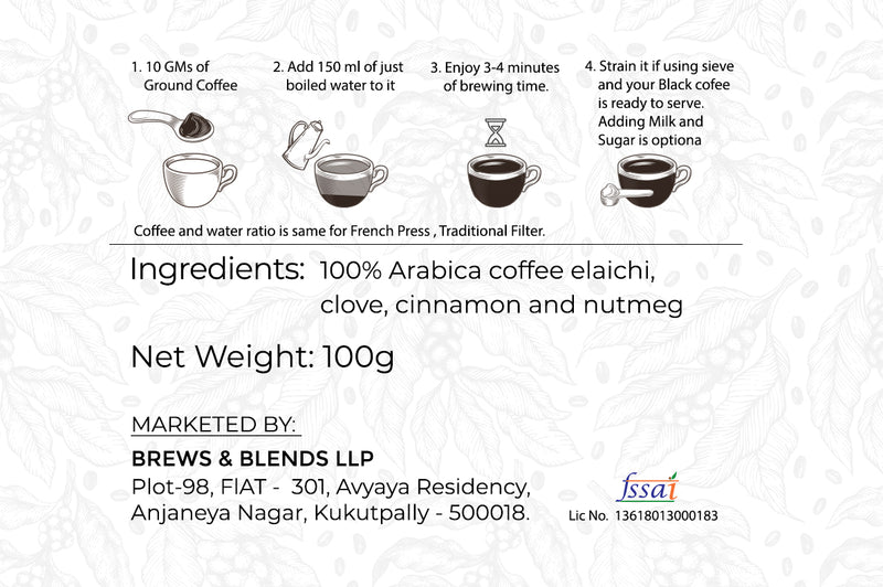 Coffee Kahwah | 100% Arabica with Indian Spices | Loose Pack 100gms