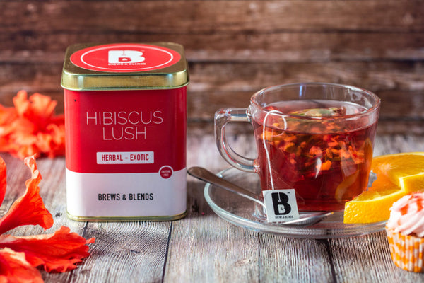 Hibiscus Lush Herbal Tea (Caffeine Free) - Exotic Wellness Health Tea Coffee -BREWS & BLENDS
