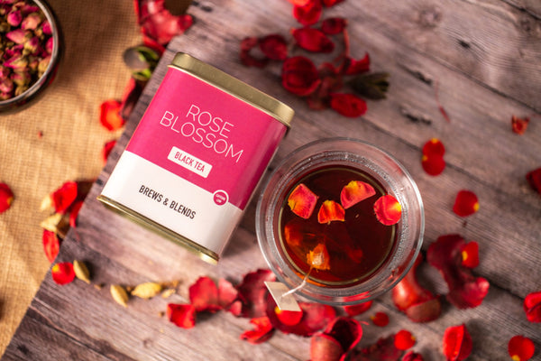 Rose Blossom Black Tea - Exotic Wellness Health Tea Coffee -BREWS & BLENDS