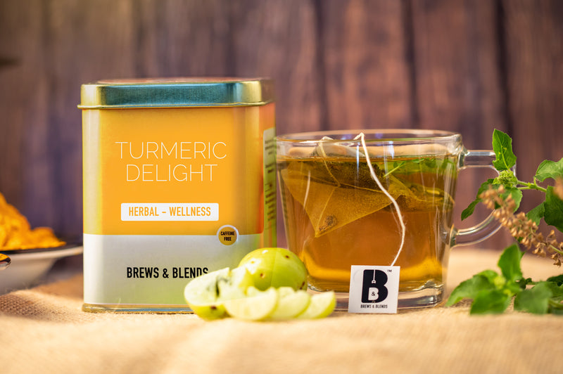 Turmeric delight Wellness Tea (Caffeine Free) - Exotic Wellness Health Tea Coffee -BREWS & BLENDS