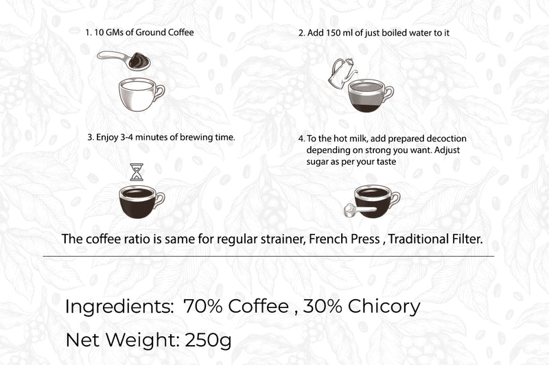 South Indian Filter Coffee | 70% Coffee 30% Chicory | Loose Pack 250gms