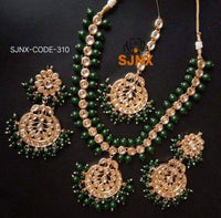 Kundan Green Motti Bridal Set
