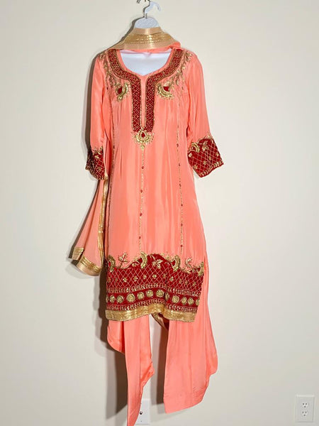 Traditional Peach Punjabi Salwar Suit