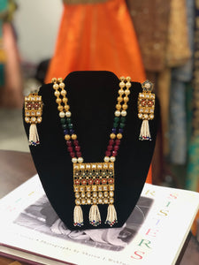 Traditional multi color kundan white moti set