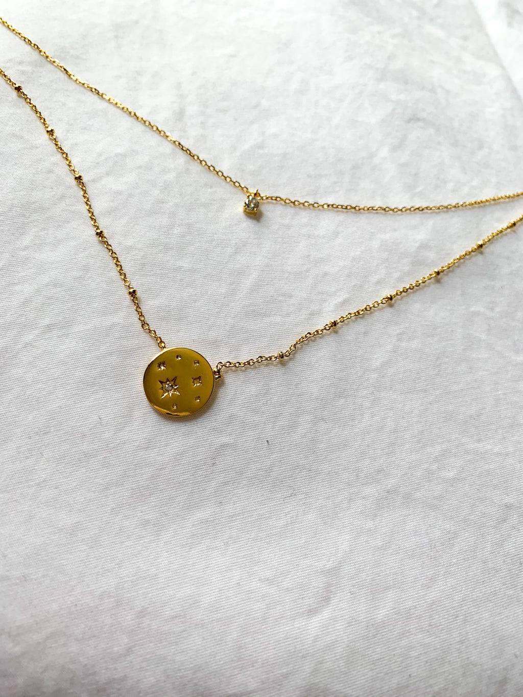 Nova Star Coin Charm Layered Necklace