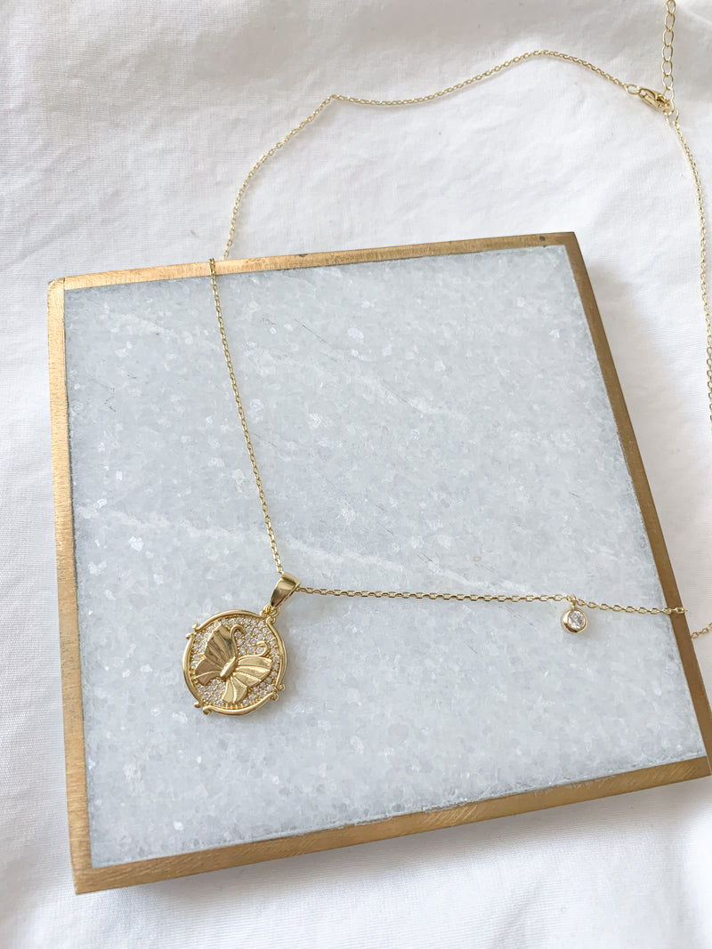 Kinsley Butterfly Disk Necklace