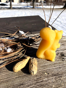 Beeswax Squirrel Candle