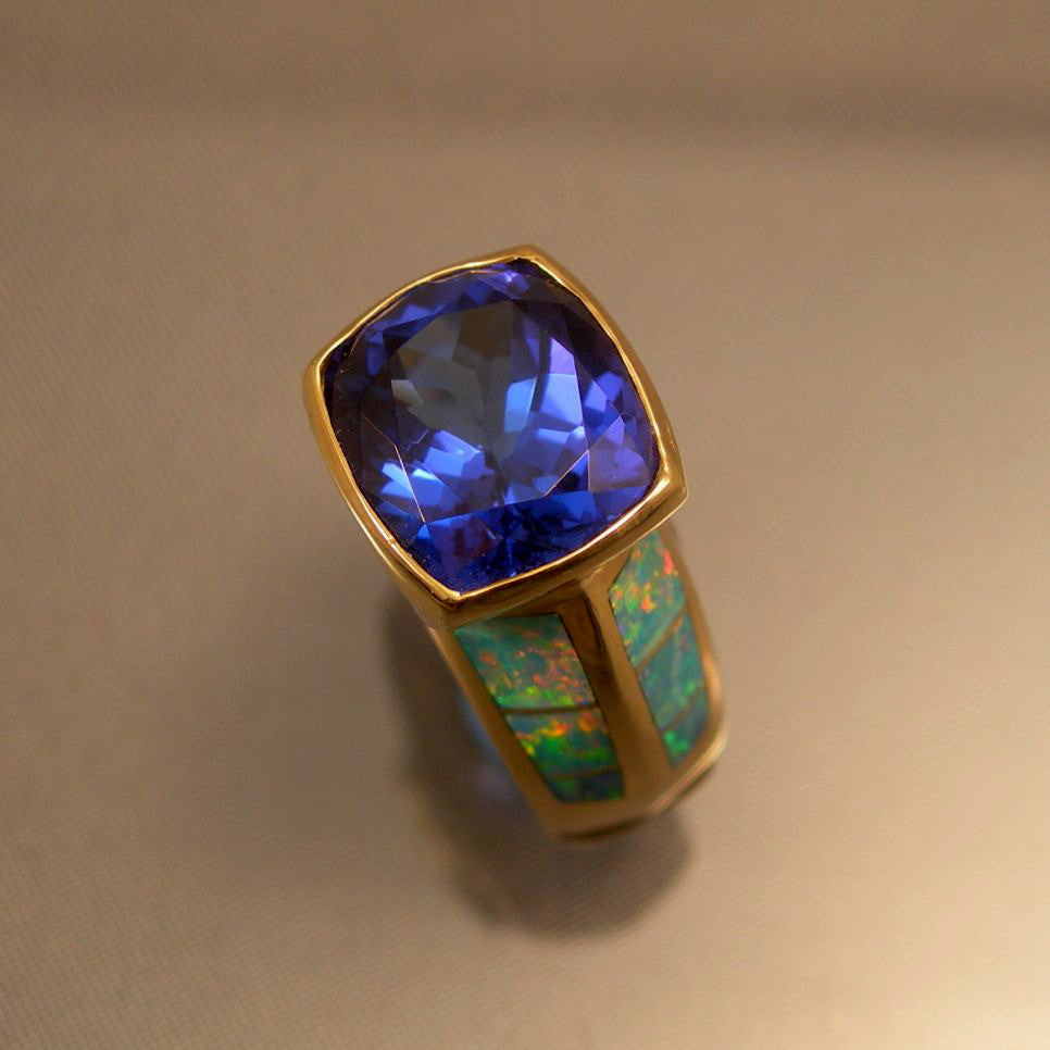 Blue Tanzanite Black Opal 18kt Gold Ring SOLD