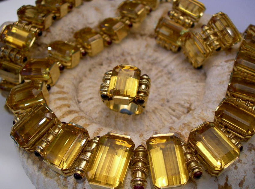 Custom Italian 18kt Gold and Golden Beryl Ensemble