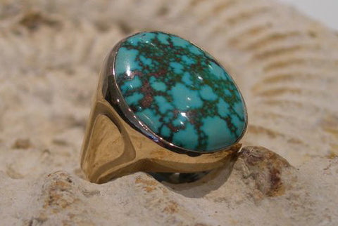 Kingman Turquoise 14kt Yellow Gold Men's Ring (SOLD)
