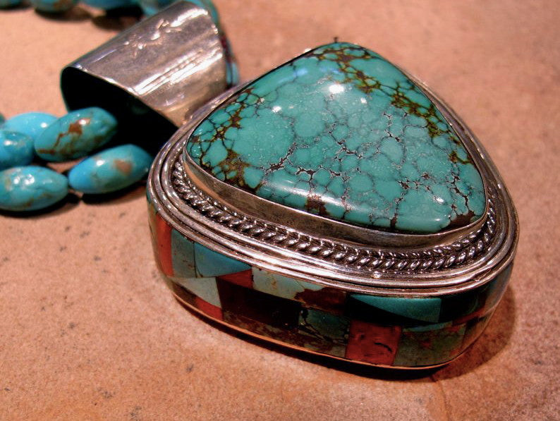 Navajo Silver & Turquoise Inlay Pendant