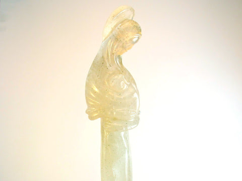 Quartz Crystal Madonna and Child on Wood Sculpture SORRY SOLD