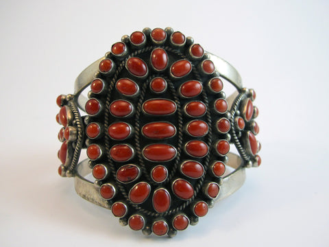 Mens Fine Red Coral and Silver Vintage Cuff