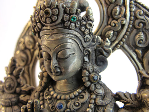 Contemporary Sterling Silver Tara Sculpture with Emerald and Ruby