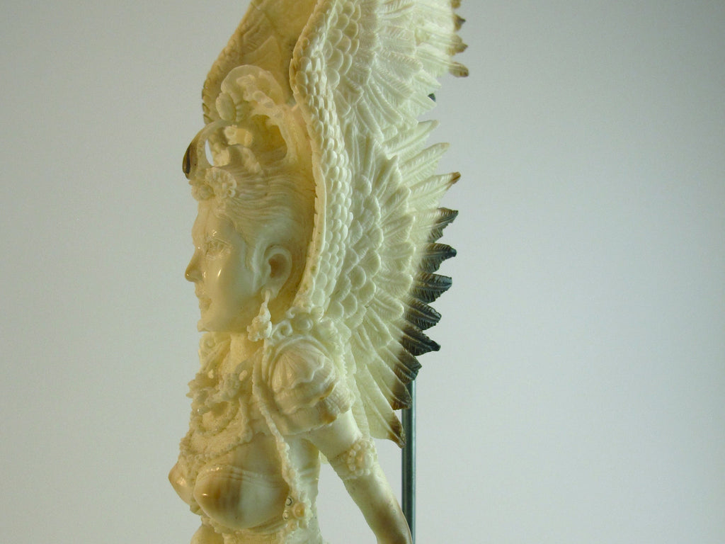 Fossilized Walrus Ivory Carved Goddess with Dragon