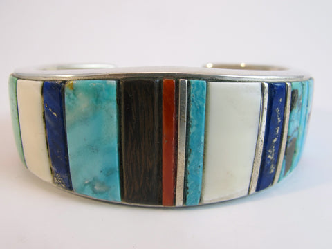 Mixed Wood Turquoise Coral Inlay Cuff Bracelet