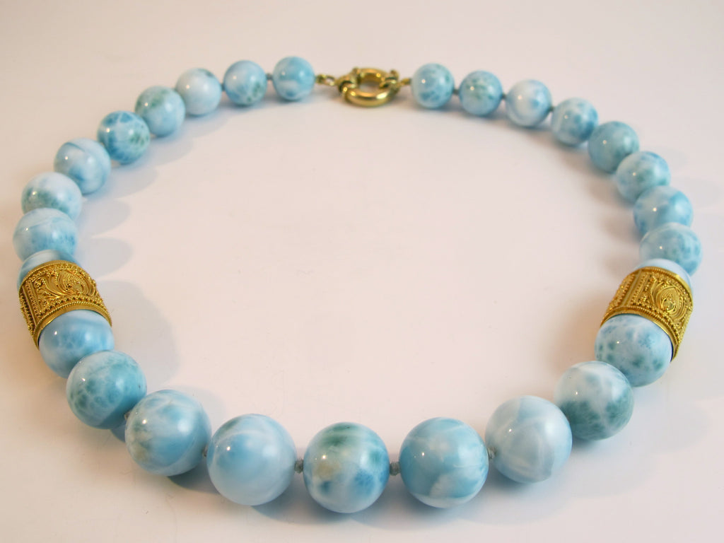 Larimar 22kt Gold Beaded Necklace