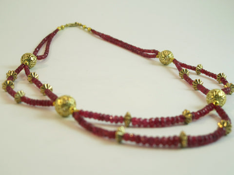 Fine Red Spinel and Gold Beaded Necklace