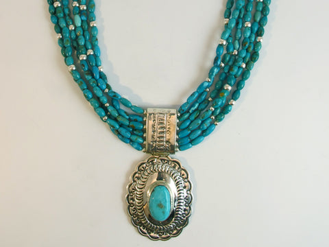 Native American Kingman Turquoise Silver Necklace