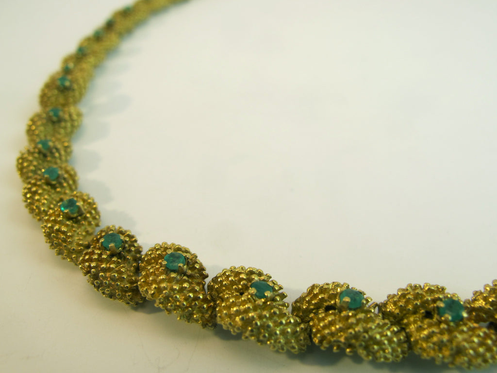 Vintage Emerald 18kt Yellow Gold Textured Necklace