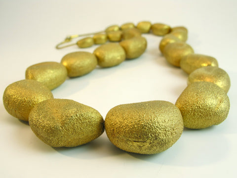 Large 18kt Yellow Gold Pebble Beads