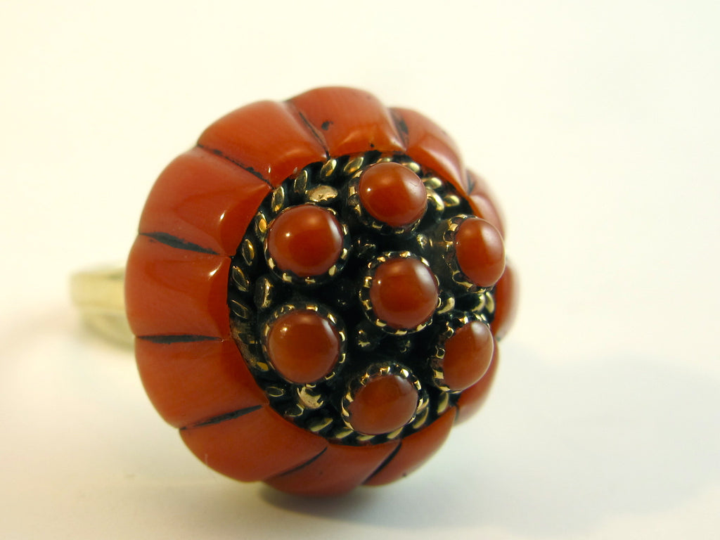 Vintage Red Coral Zuni Inlay Gold Ring