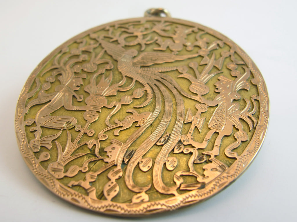 Vintage Double Sided 14kt Gold Quetzal Pendant