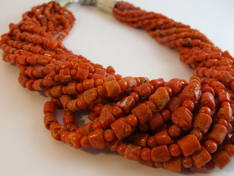 Natural Orange-Red Coral Native American Necklace