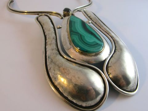 Vintage Mexican Sterling Silver Malachite and Fire Agate Necklace
