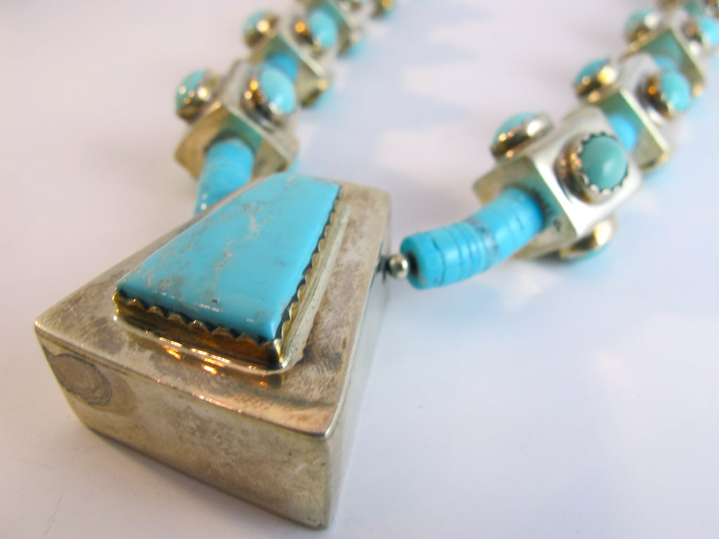 Santo Domingo Pueblo Turquoise Sterling Silver Necklace