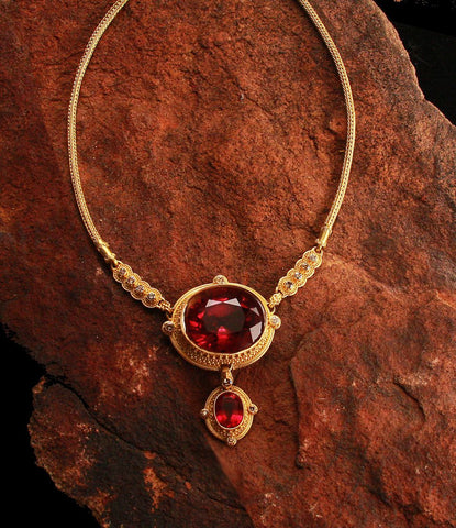 Natural Rubellite Tourmaline 22kt Gold Necklace 73.83ct