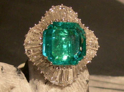 estate emerald engagement ring deco jewelry rings art antique samodz