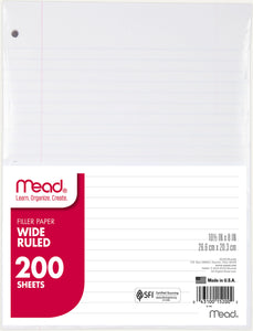 Mead Filler Paper Wide Ruled 200 sheets