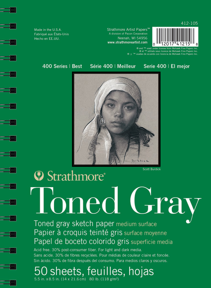 Strathmore Toned Grey Sketch Pad 400, Recycled