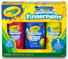 Load image into Gallery viewer, Box of three 8oz bottles of Crayola washable fingerpaint