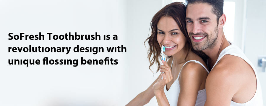 Woman with a SoFresh toothbrush with a man