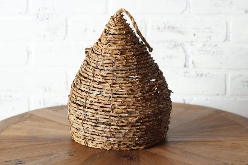 woven wood bee skep,  wine country home decor, vintage farmhouse decor