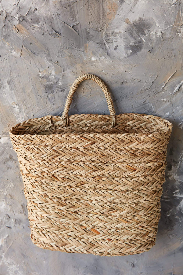 seagrass hanging wall basket woven handle