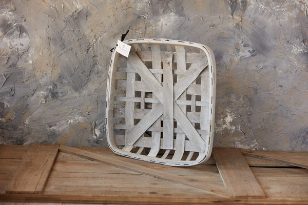 "15""White Washed Tobacco Basket"