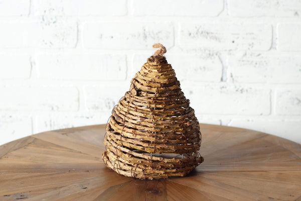 "8.5"" Wood Bee Skep, wine country decor, farmhouse home decor"
