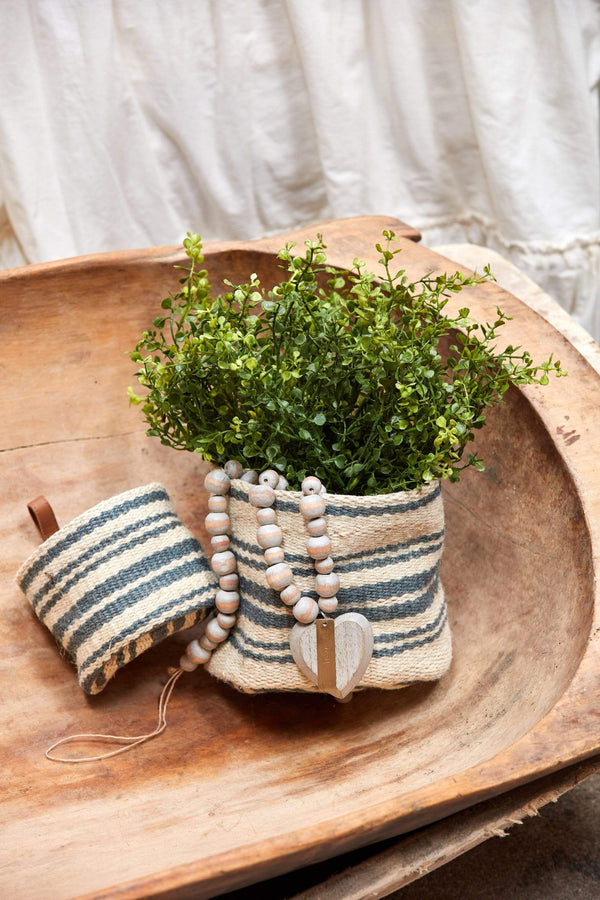 Striped Jute Baskets Set