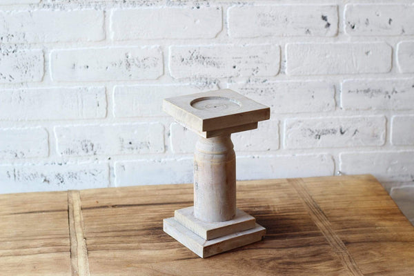 "8.5"" Rustic Gray Turned Wood Candleholder"
