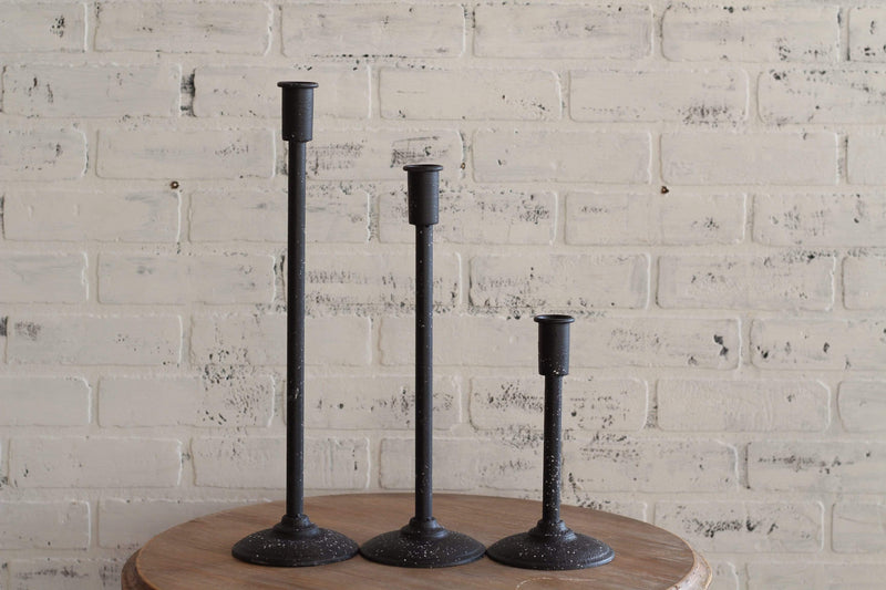 "9"" Spotted Black Taper Candlestick"