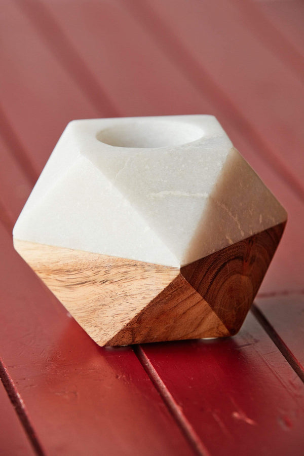 White Marble and Wood Tealight Holder Centerpiece