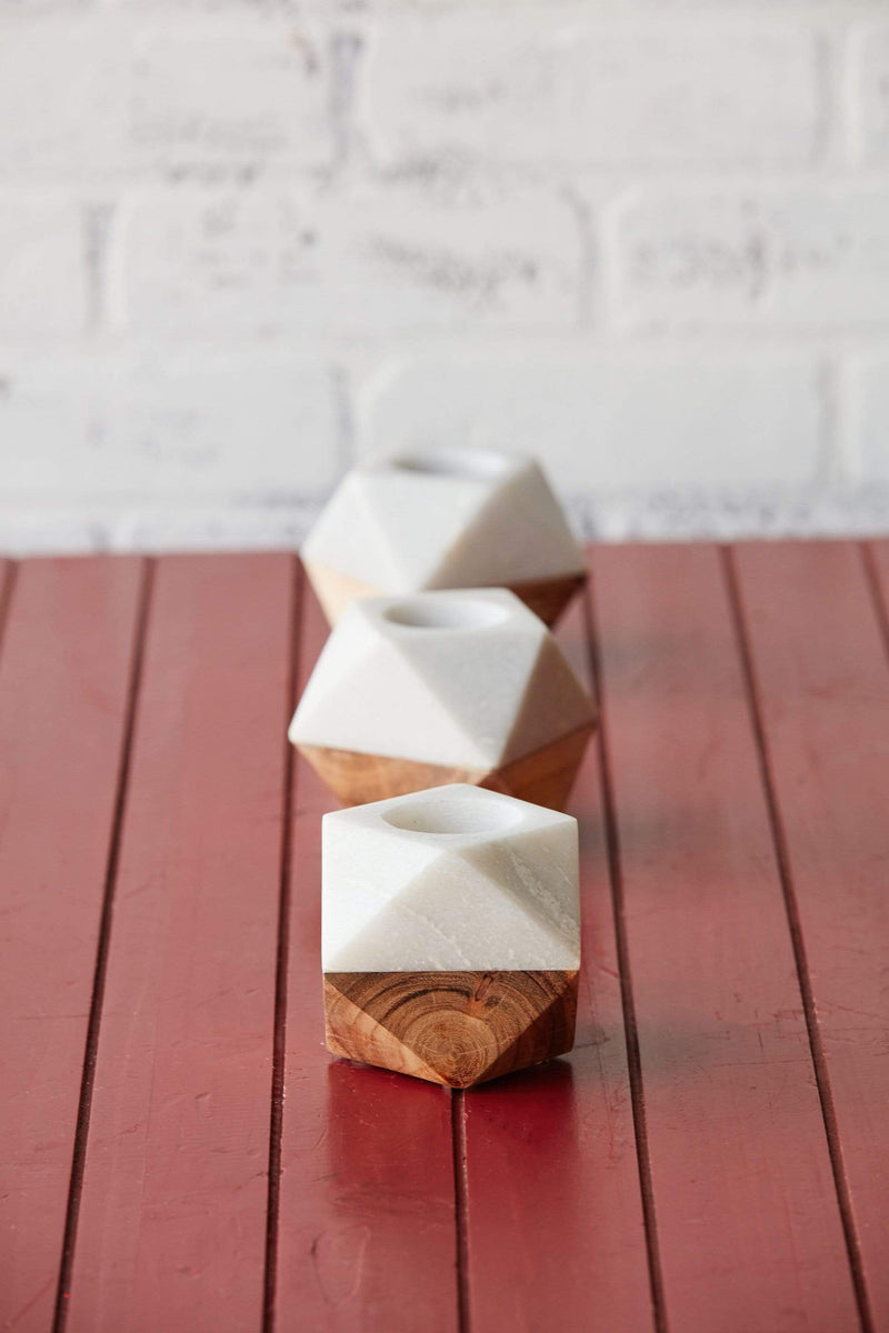 Marble + Wood Tealight Holder
