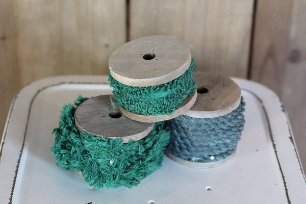 Ribbon  on wood Spool Vintage Inspired green frayed edges